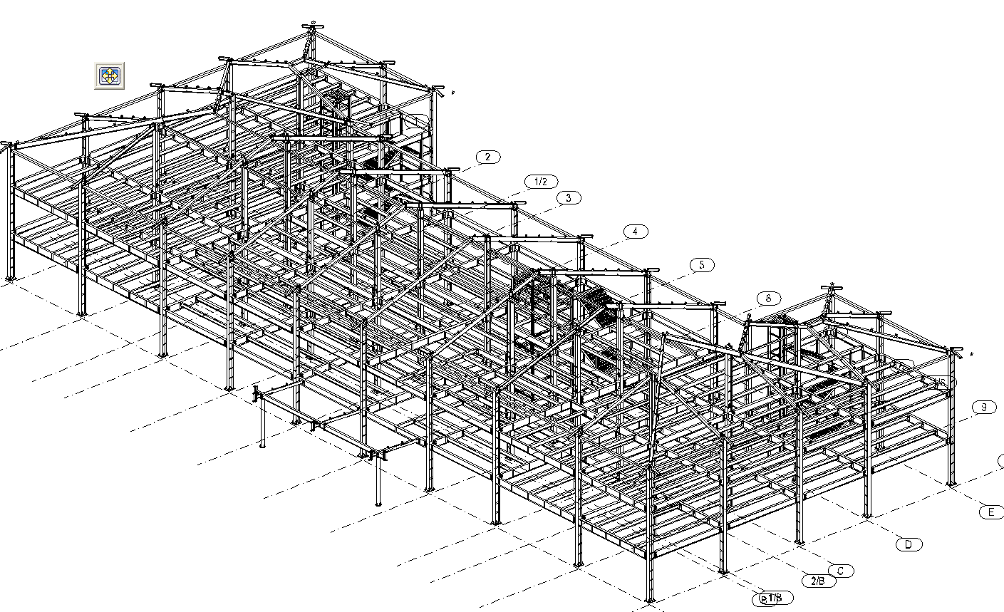 steel structure hotel detailed structure size drawing-2