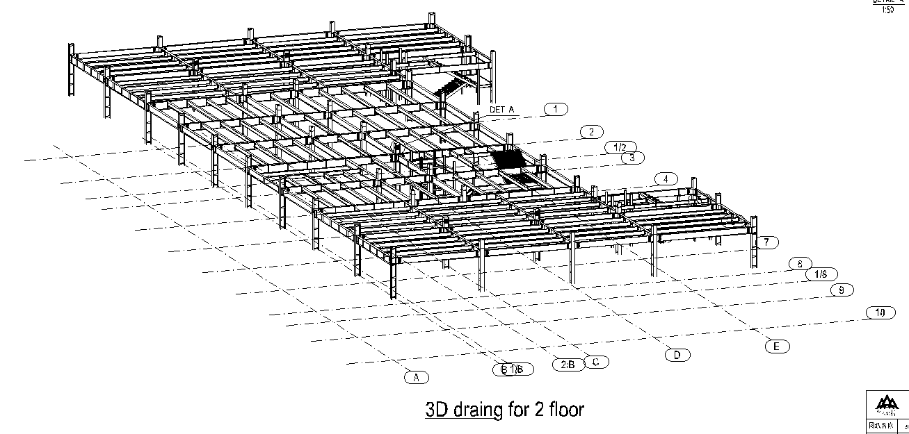 steel structure hotel detailed structure size drawing-1