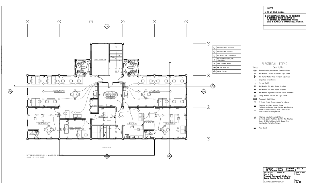 prefabricated office building detailed dimensional drawing for construction